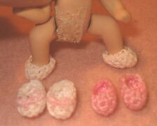Miniature Baby Booties for 2 inch size Dollhouse Doll 3 Sets Handmade