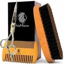 hisMane Beard and Mustache Brush, Scissors and Facial Hair Care Travel Bag Kit