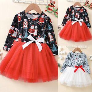 Toddler Baby Kids Girls Christmas Tree Santa Tulle Tutu Princess Party Dress