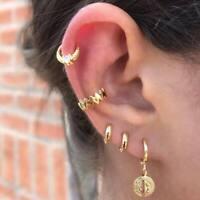 5x Punk Women Small Gold Crystal Jesus Earrings Charm Ear Hoop Band Jewelry Set