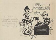 """""""CARTES D'ALIMENTATION"""" Dessin à l'encre de Chine par Marc R. / LE MERINOS 1944"""