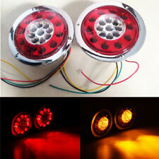2X Round 19LED Truck Trailer Loader Brake Stop Tail Light Turn Signal Red/Amber