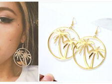 BIG 7 cm LONG Gold Hoop Earrings Palm Tree Round Drop Dangle Party Beach Holiday