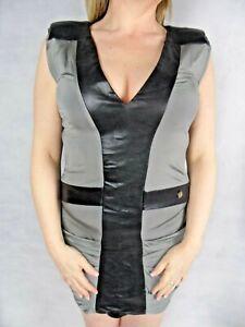AMY GEE Sheath Bodycon Dress Size 12 Gun Metal Grey Black Colour Block