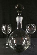 New listing Vintage Midcentury Etched Glass Decanter Set With Two Wine Glasses Exc