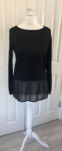 Ladies Black Sparkly Top Size M UK 12 14 Wallis Glittery Stretchy