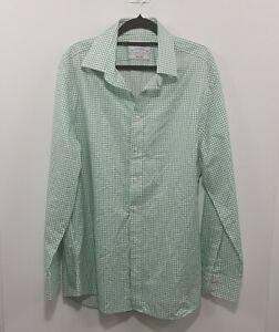 Charles TyrWhitt Green Plaid Long Sleeve  Slim Fit Shirt Sz 42