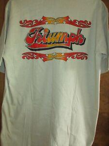 Vintage NOS 70's-80's Triumph T Shirt Curt's Cycle Shop Leaventworth KS. Tan XL