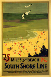 25 Miles Of Beaches Via South Shore Line Travel Vintage Poster Repro FREE S/H