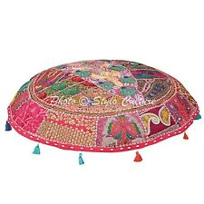Indian Patchwork Floor Cushion Cover Vintage Handmade Cotton Ottoman Cover