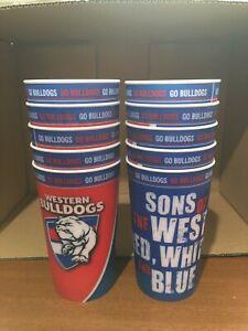 AFL WESTERN BULLDOGS 10  LENTICULAR TUMBLER CUPS PARTY BBQ BIRTHDAY BRAND NEW