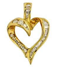 Women's .75 ct Natural Diamond Open Heart Pendant in 14k Solid Yellow Gold