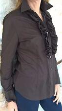 Camicia donna marrone petto arricciato taglia M Benetton