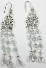 STERLING SILVER Blue Topaz Chandelier Earrings Stylish Jewelry