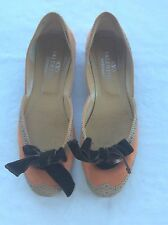 VALENTINO ORANGE /BROWN SUEDE LEATHER FLATS SHOES