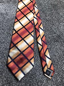 "Thomas Nash orange multi striped mix smart 100% silk tie 3.75"" wide 57"" long"