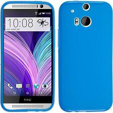 Coque en Silicone HTC One M8 - mate bleu + films de protection