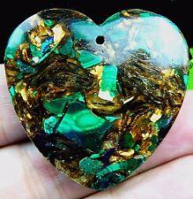 Beautiful dark green Bronzite Sea Sediment Jasper heart pendant bead xh289