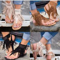 Women Ankle Strap Wrap Summer Tassel Flat Sandals Flip Flop Shoes Size Bohemia B