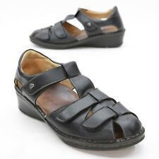 Finn Comfort Ladies 8 UK (about 10 US) Black Leather Wedge Fisherman Sandals
