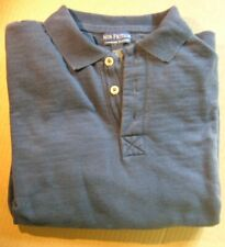 Mens Heavyweight Polo Shirt, Size Small, Blue, long sleeve, cotton
