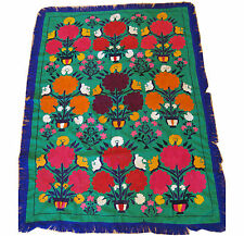 Green vintage Suzani floral embroidery with purple fringe 3.5' x 5.5' (#2)