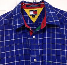 Vtg Tommy Hilfiger Boy's Shirt Large Plaid Blue