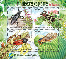 Insects & Plants of Red List Nature protection m/s Burundi Sc.1124 MNH BUR12401a