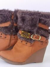 jumex ugg australia tan brown fur ankle wedge boots size UK7 EU40 boots shoes