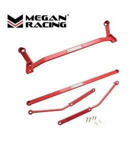 MEGAN RACING FRONT LOWER & REAR LOWER CHASSIS BRACE FOR 06-11 LEXUS IS250 RED