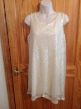 IMMACULATE LADIES CREAM SPARKLY SEQUIN PARTY  SHIFT DRESS H & M SIZE L UK 12