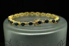 "7.25"" VERMEIL 925 STERLING SILVER BLUE SAPPHIRE & DIAMOND TENNIS BRACELET #A3033"