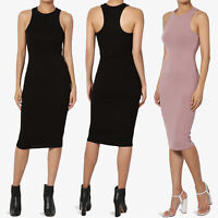 TheMogan Sleeveless High Neck Racerback Tank Ribbed Jersey Pencil Midi Dress