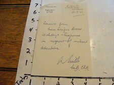 1951 TRAVEL paper: Receipt from doctor @ 4 Oxford St. Southampton, England