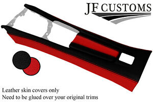 BLACK RED CENTRE CONSOLE + ARMREST LEATHER COVERS FITS FIAT 124 SPIDER 16-20