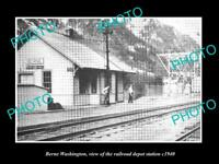 OLD POSTCARD SIZE PHOTO OF BERNE WASHINGTON THE RAILROAD DEPOT STATION c1940