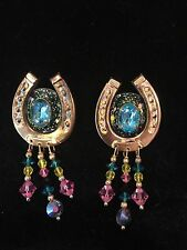 """VINTAGE LUNCH AT THE RITZ HORSESHOE DANGLE EARRINGS, SIGNED """"LATR'870"""", no card"""