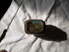 Ancienne boite à bijoux en verre biseauté intérieur capitonné abimée