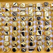 20Pcs Wholesale Fashion Jewelry Lots Mix Men's Gold Plated Rhinestone Rings Band