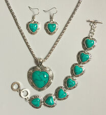 Tibet Silver Green Heart Turquoise Inlay Pandent Necklace Earrings Bracelet Set