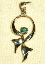 SOLID    14K  Gold     Emerald     Pendant