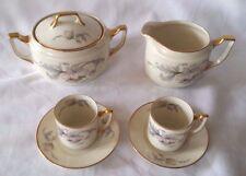 EPIAG Czechoslovakia China #5082 PINK/GRAY Creamer Sugar 2 Small Tea Cups Saucer