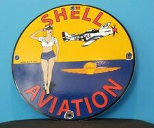 VINTAGE SHELL AVIATION GASOLINE PORCELAIN GAS PIN UP MILITARY GIRL SIGN