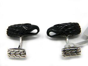 John Hardy Mens Legends Eagle Silver Head Cufflinks with Black Onyx NWT
