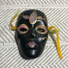 Black Decorative Face Mask Hand Painted Pink And Gold