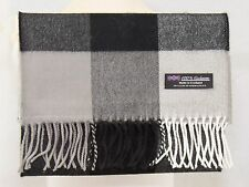 100% CASHMERE Scarf Black White Check Plaid Warm Graham SCOTLAND Wool Men D451