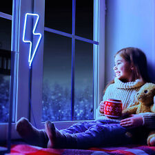 Blue LED Lightning Shaped Neon Sign Light USB Wall Night Lamp Party Wedding Bar