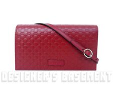 GUCCI dark red MICRO GUCCISSIMA embossed wallet with strap MINI bag NIB Authentc