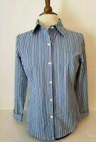 Cabi #369 Long Sleeve Striped Button Up Collared Shirt Blouse Top M