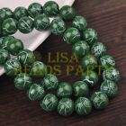 Hot 30pcs 10mm Round White Stripes Charm Loose Spacer Glass Beads Deep Green